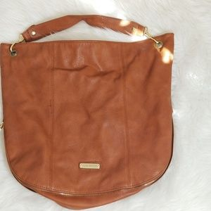 Steve Madden Tan Gold Zipper Hobo Tote Bag